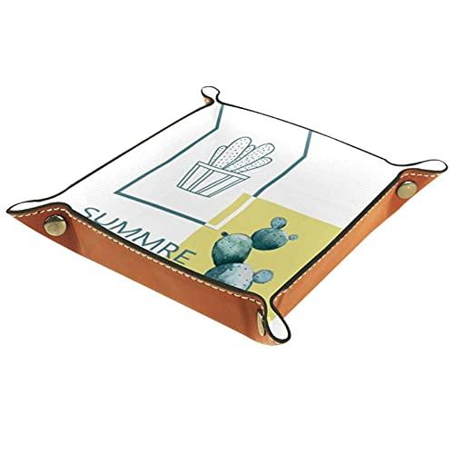 Bandeja de valet Organizador de cuero Cactus Verano Impresión Control remoto Llaves Relojes Cartera Moneda Joyería Caja de Almacenamiento para Mesilla de Noche Aparador Escritorio Hogar Cocina Oficina