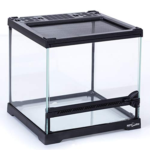 REPTIZOO Mini Reptile Glass Terrarium Tank 8'x8'x8', Front Opening Door Full View Visually Appealing Mini Reptile or Amphibians Glass Habitat