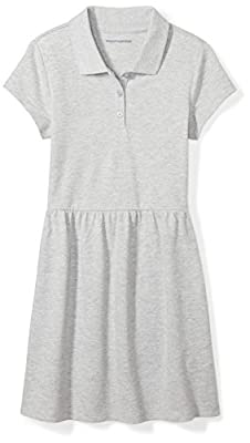 Amazon Essentials Girl's Short-Sleeve Polo Dress, Gray, XS (4-5)