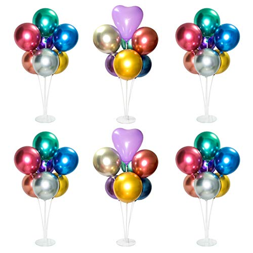 6 Sets Balloon Stand Kit, Table Balloon Stand Holder, Reusable Centerpiece with Base for Birthday Decorations, Party, Wedding and Graduation Decorations