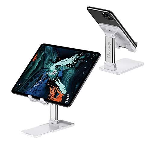 Handy Ständer, Tablet Halterung Desktop-Telefonhalter, verstellbarer Tablet-Ständer Faltbarer tragbarer Halter Kompatibel mit iPhone 11 Pro Max XR X Samsung Galaxy S10 9 iPad Pro Mini (Weiß)