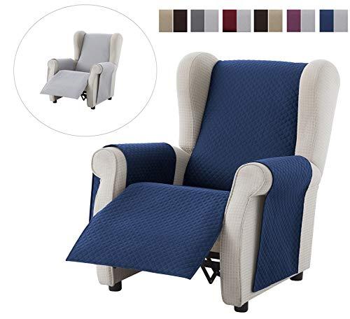 Textilhome - Funda Cubre Sofá Adele, 1 Plaza/Relax, Protector para Sofás Acolchado Reversible. Color Azul