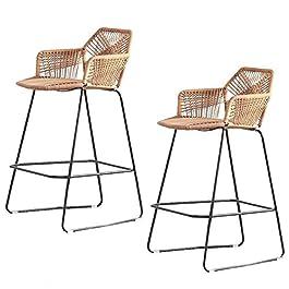 2 pcs chaise de bar chair de rotin chaire moderne design de fer art cuisine cuisine comptoir tabouret bar chaises…