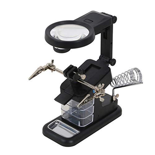 Mucjun LED Elektrische Lupe Multifunktionsgerät Lötkolbenhalter Tischlupe Elektrische Eisen Schweißwerkzeug Set