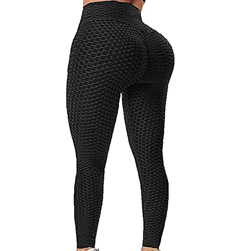 ccko Women's High Waisted Yoga Leggings Booty Butt Lifting Tummy Control Running Workout Textured Yoga Pants