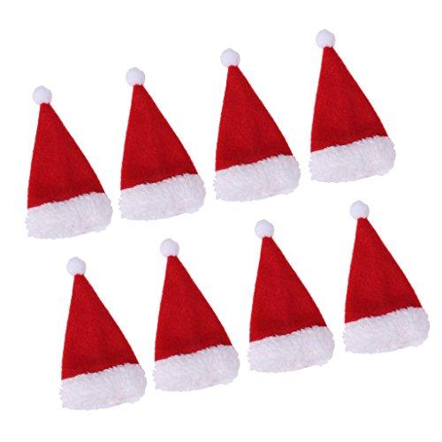 Baoblaze 8pcs Mini Weihnachtsmütze Weihnachtsmannmütze Nikolausmütze für Eier, Puppen, Flaschen