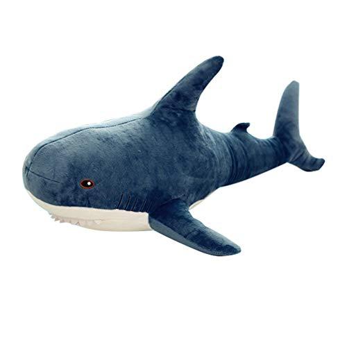 STOBOK Hai-Plüschtier Kuscheltier Plüsch Kissen Geburtstagsgeschenk für Kinder dunkelblau