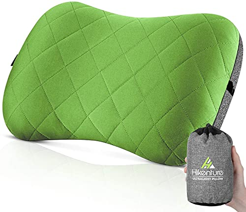 Hikenture Camping Pillow with Removable Cover - Ultralight Inflatable Pillow for Neck Lumber Support - Upgrade Backpacking Pillow - Washable Travel Air Pillows for Camping, Hiking, Backpacking (Green)