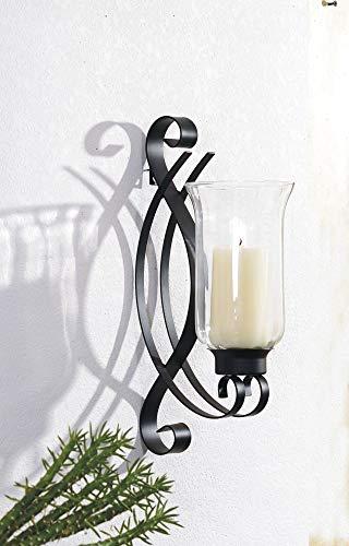 Benelando Wandkerzenhalter/Kerzenhalter mit großem Windlicht aus Glas (2)