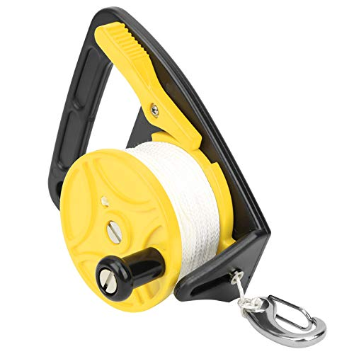 SALUTUYA Se adjunta con Mango de Carrete Grande Carrete de Buceo de 150 pies con Carrete de línea de Buceo Ligero de 46 m / 150 pies, para Buceo a la Deriva, Snorkel, Kayak(Yellow)