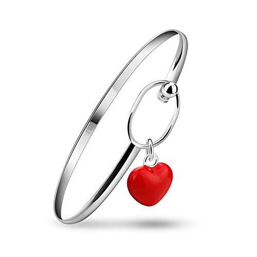Cakunmik Moda Rojo Corazón Colgante Brazalete, Encantador Dama 925 Pulsera De Plata Esterlina Pulsera Pulsera Accesorios para Un Regalo De La Amistad,Rojo