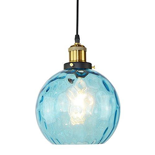 1-Light Bronze Pendelleuchte Deckenleuchte mit blauer Bubble Glasschirm für Küche und Esszimmer, CE-Zulassung. [Energieklasse A ++]