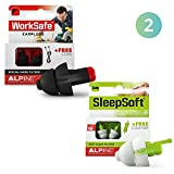 Alpine WorkSafe + SleepSoft Ear Plugs - Hearing Protection for Work & DIY - Reduce Noises and Improve Sleeping - Comfortable Hypoallergenic Ear Protection