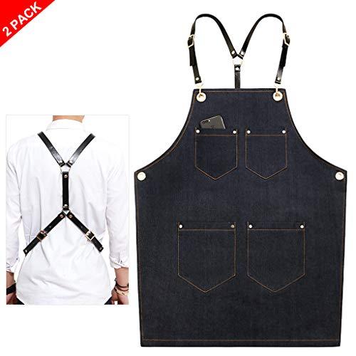 2 stuks schort kookschort BBQ-schort slabschort verstelbare nekband workwear slabschort Blacka