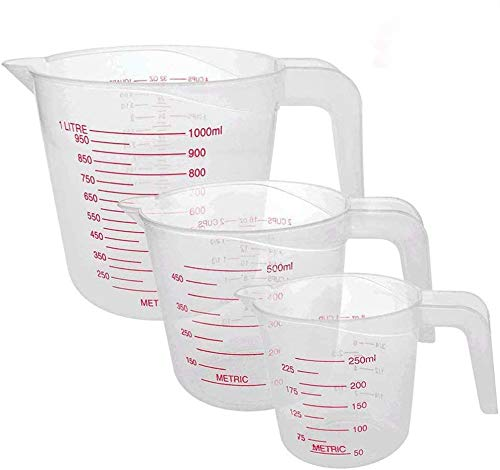 N/L Plastic Measuring Jug for Baker Set 3pc Large 4-Cup (1 litro), 2-Cup (500 ml) and Small 1-Cup (250 ml) - Microwave Safe - Clear, Easy to Read Measurements - Cook with Accuracy