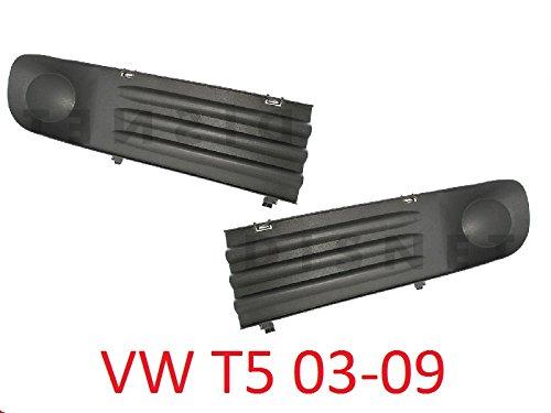 T5 03-09 Stoßstange Grill Gitter Lüftungsgitter Blende ohne Löchern für Nebelscheinwerfer Links Rechts Set