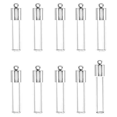 CHGCRAFT 30 Piezas Botellas de Vidrio Transparentes Largas Botellas de Deseos de Tubo Colgante con 30 Piezas de Tapas de Metal Platino para la Fabricación de Joyas Colgantes de Collar de Pendientes