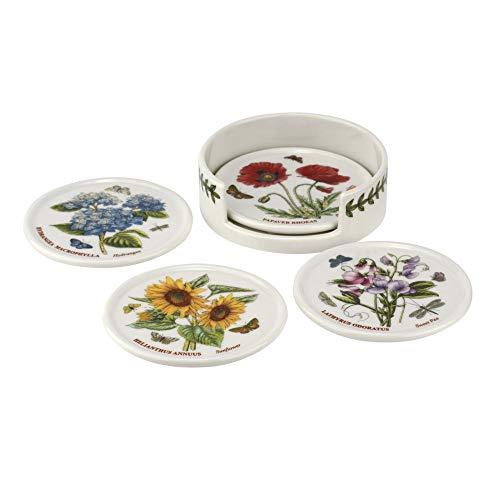 Portmeirion BG79170-XP Botanic Garden Set de 4 Dessous de Verre et Support Céramique