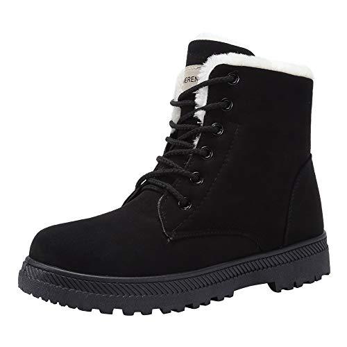Women's Snow Boots Winter Waterproof II Ankle Boots Suede/Lace Up Cotton Warm Fur Lined Anti-Slip Platform Booties OutdoorU120WYJNX-Black-37
