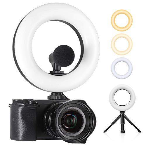 "Ulanzi LED Video Light, 6.4"" On Camera Ring Light Bi-Color Dimmable 3200-5600K, Built-in 2000mAh Battery CRI 95+ Fill DSLR Light with Mini Tripod, Photography Lighting Photo Studio Shooting"