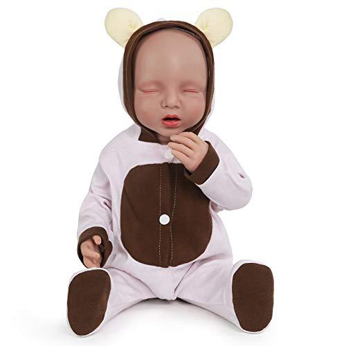 Vollence 20 Pollici Bambola Che Dorme in Silicone con l'Osso, Sistema Bevi e Bagnato, Bambola Realistica Reborn, Bambola Neonata con Occhi Chiusi, Bambola Realistica - Ragazza