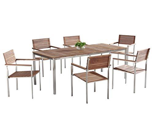 Beliani Gartenmöbel Set Tisch 200 cm 6 Stühle Teakholz/Edelstahl Viarregio