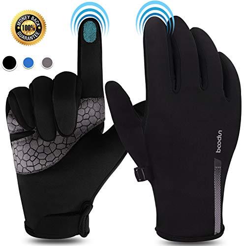 boildeg Fahrradhandschuhe Winter Touchscreen Handschuhe Wasserdicht und Winddicht rutschfest Winterhandschuhe Sporthandschuhe Für Herren und Damen (Schwarz, L)