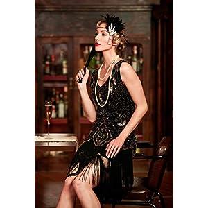 Metme Women's 1920s Vintage Flapper Fringe Beaded Great Gatsby Party Dress (3XL, Black)
