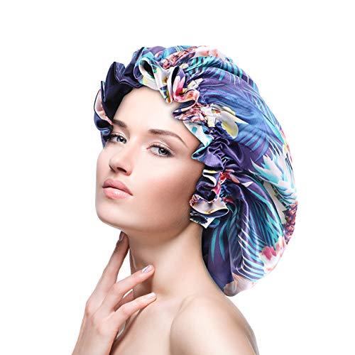 Satin Bonnet Silk Sleep Cap for Women Long Curly Hair - Night Hat Head Cover with Double Layer & Elastic Band, Soft Bonnet for Natural Hair, Braids, Dreadlocks (Blue)