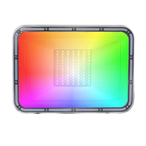 Z@SS LED-Flutlicht, RGB-LED-Flutlicht, IP67 wasserdichter Outdoor-Indoor Farbwechsel Flutlicht, dimmbare Wandleuchte-Waschmaschine für Party, Garten, Landschaft,50w