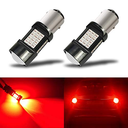 iBrightstar Newest Extremely Bright 36-SMD 3030 Chipsets 1157 2057 2357 7528 BAY15D LED Bulbs with Projector Lens Replacement for Tail Brake Lights, Brilliant Red