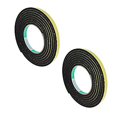 Othmro Sealing Foam Tape Self Adhesive Shockproof Sponge Foam Tape Self-Stick Rubber Weather seal 5mm Thick 10mm Wide 3 Meters Length 2pcs