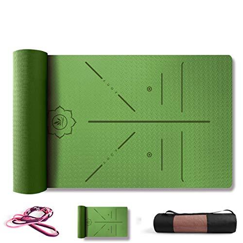 ZBK Esterilla de yoga de 8 mm de grosor antideslizante de TPE para línea de postura, esterilla de yoga ampliada de 80 cm, alfombrilla de fitness, 183 x 80 x 0,8 cm, 5 colores