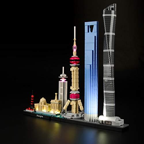 iCUANUTY Kit de Iluminación LED para Lego 21039, Kit de Luces Compatible con Lego Architecture Shanghái (No Incluye Modelo Lego)