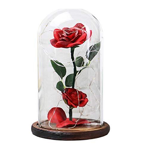 QUICKLYLY Rosa Flores Seda,La Bella Y La Bestia Rose Kit Completo,Romántica Cubierta De Vidrio Led Micro Paisaje,Flor Artificial De Decoración del Hogar/Regalo del Día De San Valentín(Rojo)
