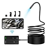 Wireless Endoscope,KinCam 5.5mm 1080P 2.0MP HD Zoomable Focus WiFi Borescope Inspection Camera IP67 Waterproof Semi-Rigid Snake Camera for Android & iOS iPhone Smartphones(5m/16.4ft Cable)