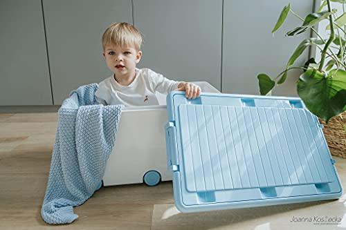 LAPSI® Spielzeugkiste, Aufbewahrungsbox mit 6 Rollen mit Deckel auf Rädern Weiß Hase - 2