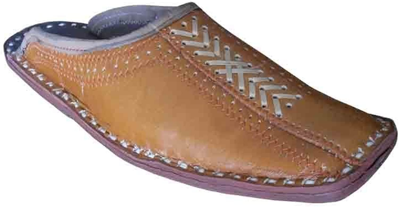 Kalra Creations Jutti Leather Men shoes Brown Slippers Indian Flip-Flops Handmade Flat