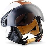 """Moto Helmets® H44 """"Vintage White"""" · Jet-Helm · Motorrad-Helm Roller-Helm Scooter-Helm Bobber..."""