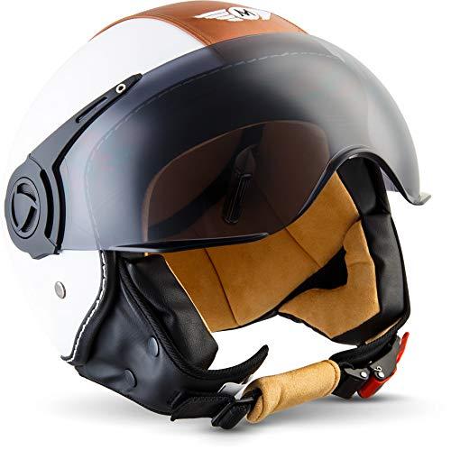 MOTO Helmets H44 - Helmet Casco de Moto, Blanco/Vintage Blanco, XS (53-54cm)