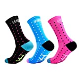 GuaziV Cycling Socks 3 Pack for Men & Women,Colorful Compression Hiking Socks Running Socks for Travelling, Walking, Climbing