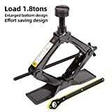 LEAD BRAND Scissor Jack is a Fast and Labor-Saving Design, Load 1.8 tons(3968lbs), Maximum Height is 16.54 inches. The Bottom is Enlarged, The top Steel Column can be Disassembled