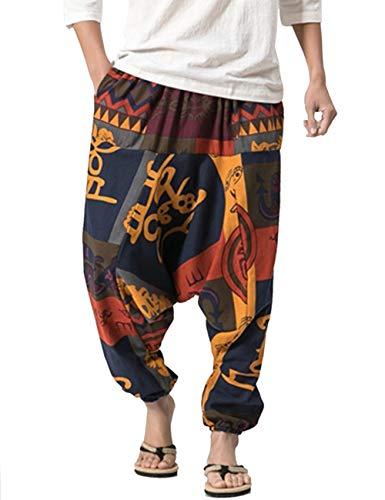 besbomig Haremshose Männer Herren Hippie Kleidung Pumphose Männer Freizeithose Fischerhose Fitness Hippie Goa Schlupfhose