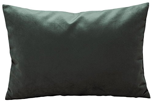 Options Pure Color Solid Velvet Throw Pillow Cases Cushion Covers for Sofa Bedroom Living Room Square (Dark Silver, 12 X 18 Inches)