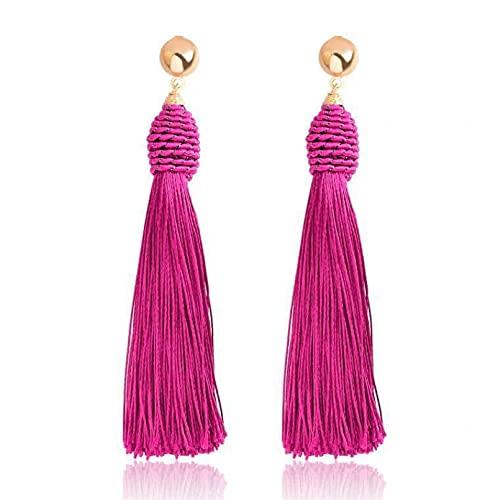 Pendientes de plata para mujer, pendientes colgantes coreanos a la moda para mujer, pendientes largos vintage de gota de plata dorada con borla simple joya de moda Pr49 regalos Pe
