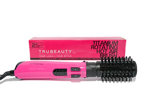 Tru Beauty, Rotating Hot Air Brush, Ceramic Coated 2-inch Barrel, 2-in-1 Blow Dryer and Styler - Titanium Pink.