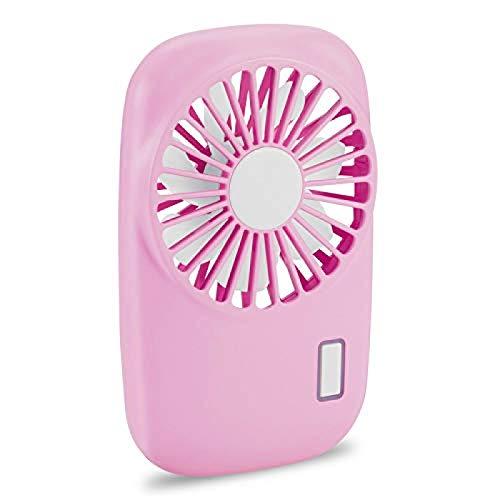 ZINE Mini ventilador de mano, potente ventilador personal, portátil, velocidad ajustable, USB, recargable, para niños, niñas, mujeres, hombres, hogar, oficina, viajes, color rosa