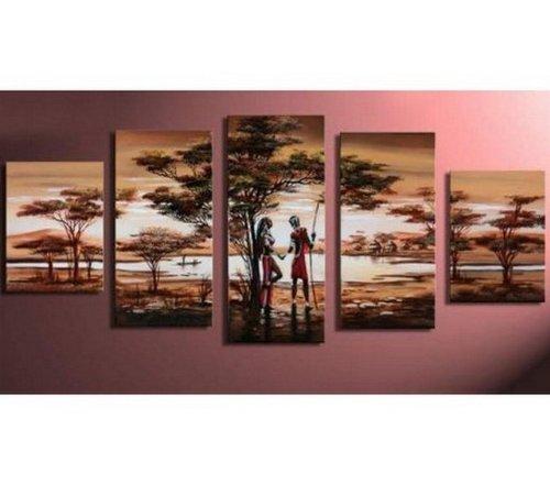 100% handbemalt Art Großer Ölgemälde auf Leinwand 5Stück Wand Kunst afrikanischen Jagd Abstrakte Malerei Modern Art groß Gemälde Galerie verpackt gespannt und fertig zum Aufhängen