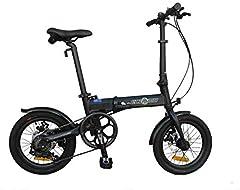 K+POP Bicicleta de ciudad plegable de aleación ligera de 16 pulgadas, 6 SP, frenos de disco duales, 16AF02BL