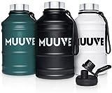 MUUVE® 2L | 1,3L Edelstahl Trinkflasche - 2 Deckel - Bürste - Auslaufsicher, BPA Frei, Kohlensäure Geeignet | Water Jug für Fitness, Sport, Gym (Schwarz, 2,2 Liter)